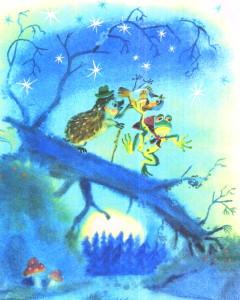 Ежики жаба по темному лесу несут воробья