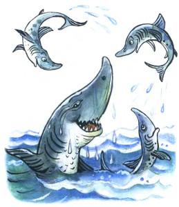Счастливая акула с маленькими акулятами