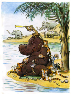 бегемот сидит на берегу и ждет Айболита