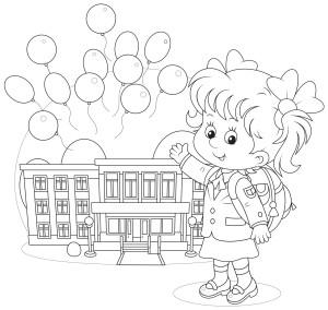 Девочка ученица машет рукой, раскраска
