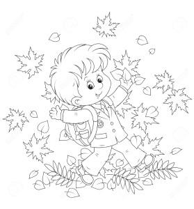 Мальчик осенью идет в школу