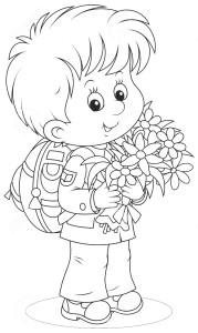Мальчик с цветами идет в школу