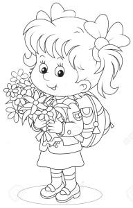 Девочка с цветами идет в школу