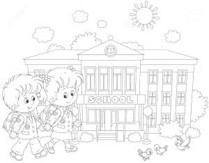 Дети держатся за руки и идут в школу.