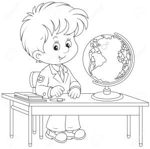 Мальчик за школьной партой с глобусом