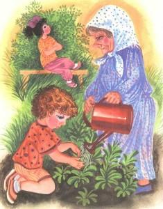 Рисунок трудящейся бабушки и девочки