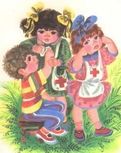 Девочки помогают мальчику