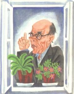 Рисунок мужчины в окне