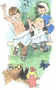 Дети вышивают на пяльцах