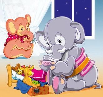 Слоны укладывают игрушки спать