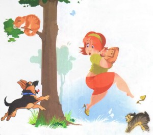 щенок лает на женщину