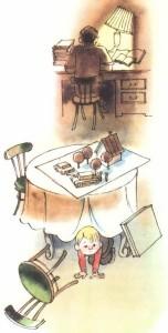 Мальчик выползает из-под стола