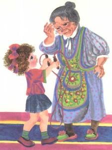 Девочка со скакалкой и бабушка