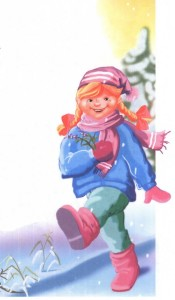 Девочка идет по зимнему лесу