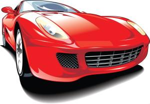 Красный автомобиль, машина рисунок
