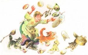 Федора бежит за тарелками