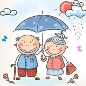 Бабушка, дедушка, дождик, солнце, улыбки, дождь