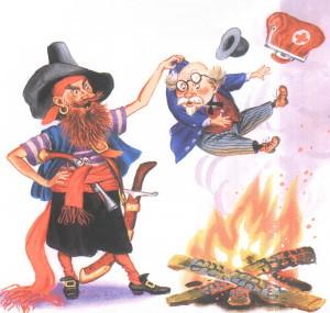 Злой бармалей держит на огнем Айболита