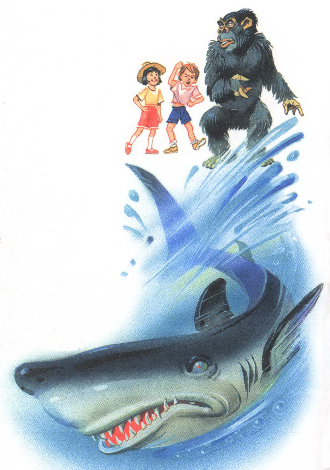 Акула уплывает от детей