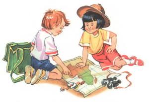 дети рассматривают карту