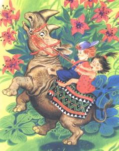 Дети едут на носороге