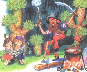 Дети привязаны у дерева, Бармалей ликует
