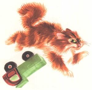 картинка кота и машинки