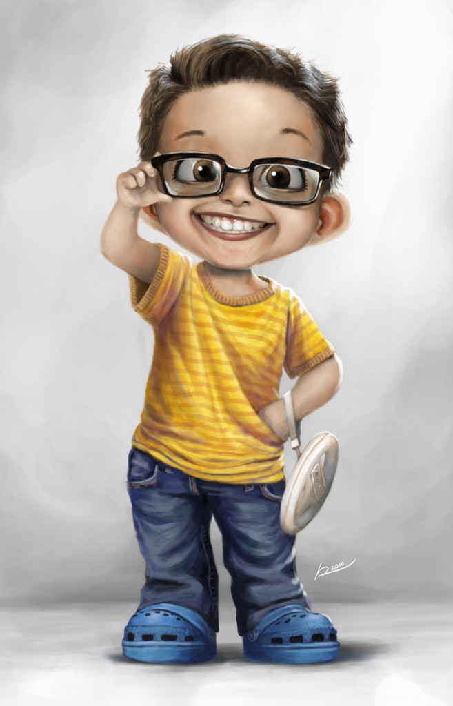 Рисунок мальчика в очках