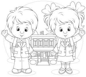 Мальчик и девочка в школьной форме стоят напротив школы, раскраска