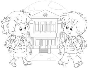 Счастливые мальчик и девочка идут в школу.