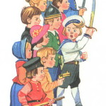 Дети с игрушечными мечами и писталетиками