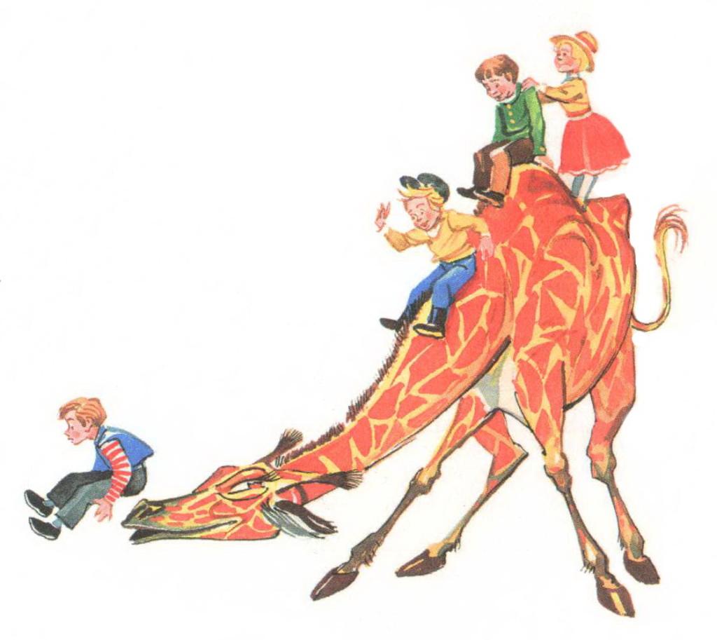Дети катаются на жирафе