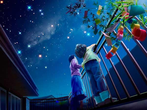 Дети смотрят на звездное небо.