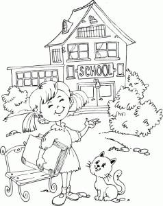 Девочка с книгой и котиком идет в школу, раскраска