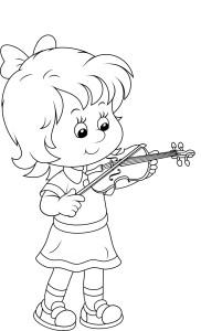 Маленькая девочка играет на скрипке, раскраска