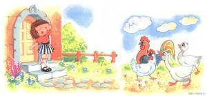 Деревенский двор, девочка и куры