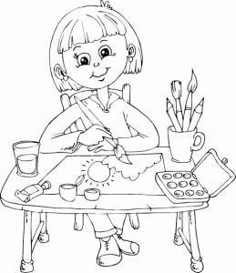 Раскраска школьницы, которая рисует