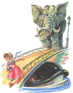 Слон бежит за девочкой