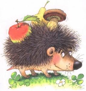 рисованный ежик с яблоками и грибами