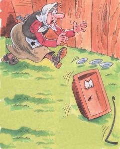 Федора бежит за корытом и кочергой