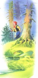Бабушка Федора идет по лесу