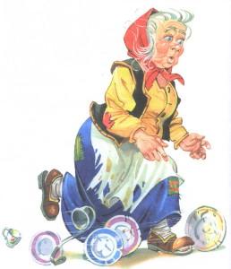 Федора бежит с тарелками