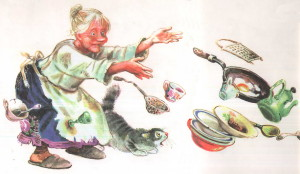 От Федоры убегают миски, чашки