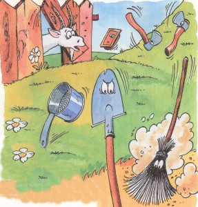 От  Федоры убегают метла, лопата