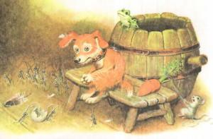 В кадушке лягушка