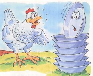 Курица разговаривает с тарелками Федоры