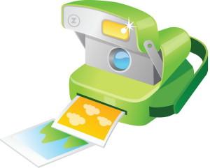 картинка зеленого фотоаппарата