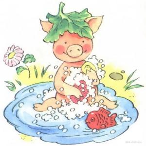 Картинка к стиху про свинью, хрюшку