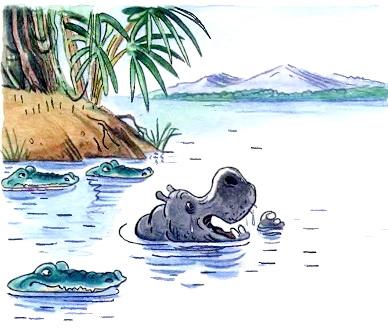 Бегемот с тараканами выглядывает из воды. Чуковский