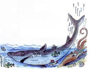 Акула с рыбками плавает
